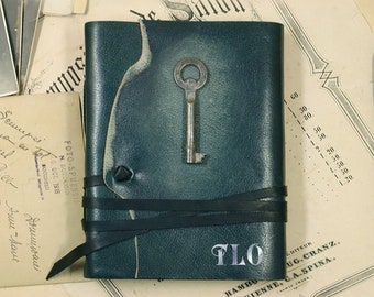 green leather journal - romantic notebook - diary with vintage style pages - The Key of Memories