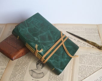 green leather journal - romantic notebook - diary with vintage style pages - pocket diary - blank book