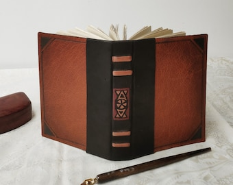 brown leather journal - old style notebook with vintage style pages - blank book, leather travel diary, pocket diary
