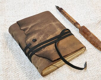 OOAK handmade leather journal - beige leather notebook - real leather blank book - travel notebook - vintage style paper
