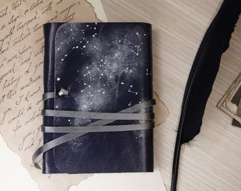 blue leather journal - romantic notebook - leather journal, poetry diary, gift for writers, poems writing journal - Constellations