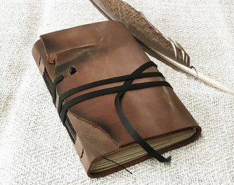 OOAK brown rustic leather journal - travel journal, beige leather diary, pocket diary, blank book, leather notebook, vintage style notebook