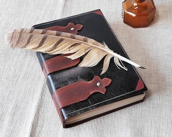 leather journal, large brown leather journal, leather diary, medieval style journal with vintage style pages, blank book, travel journal