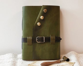 free personalization - large leather journal, military notebook, army fashion khaki diary in vintage style with old paper parchment pages