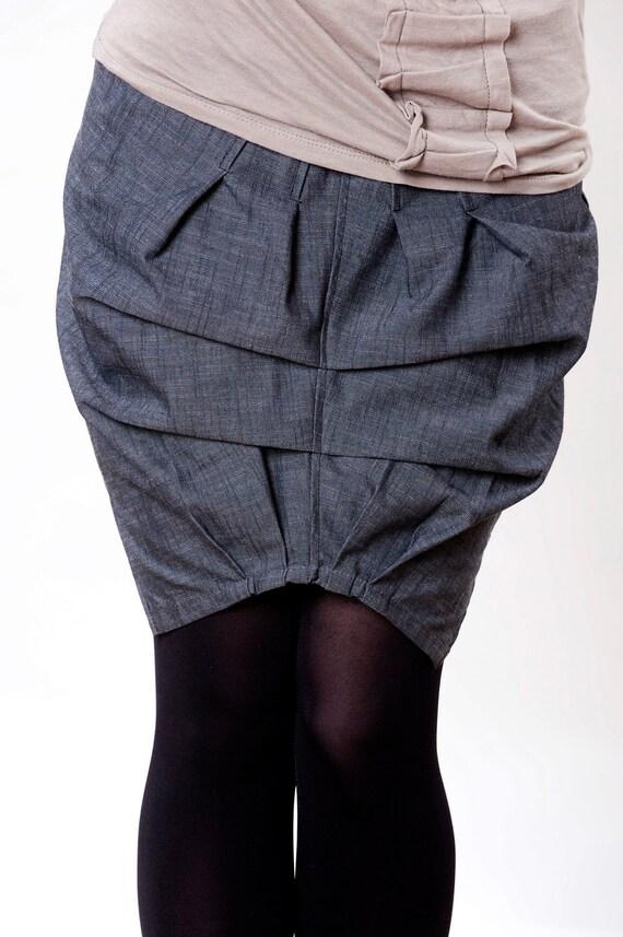 Women Denim Skirt Mini Skirt Origami Skirt Original Shape Etsy
