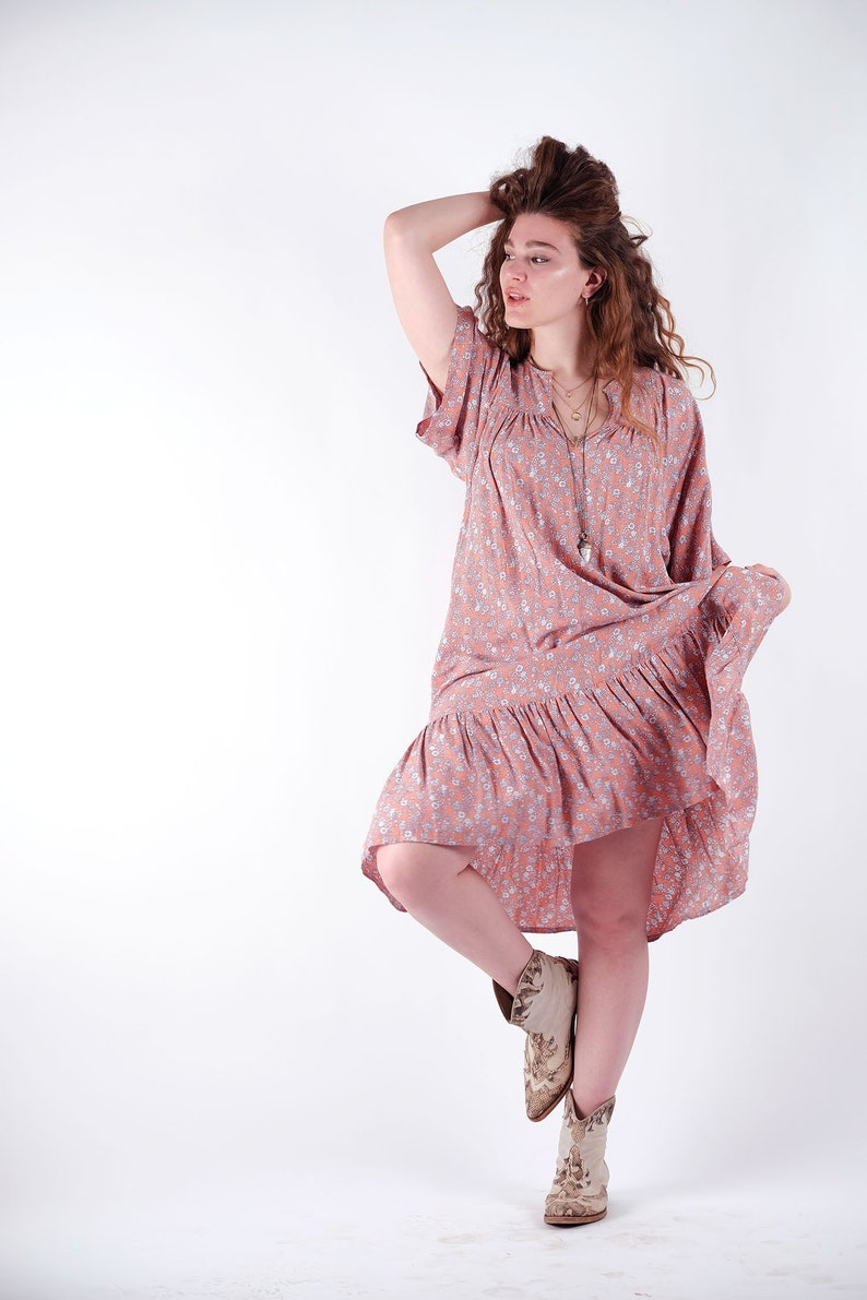 a6384eb153765 Women pink summer dress floral pattern half sleeve pockets rustic hippie  style chic comfortable one size many colors available free shipping