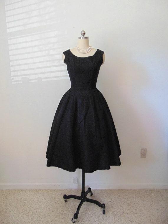 50s black taffeta embroidered cocktail dress size