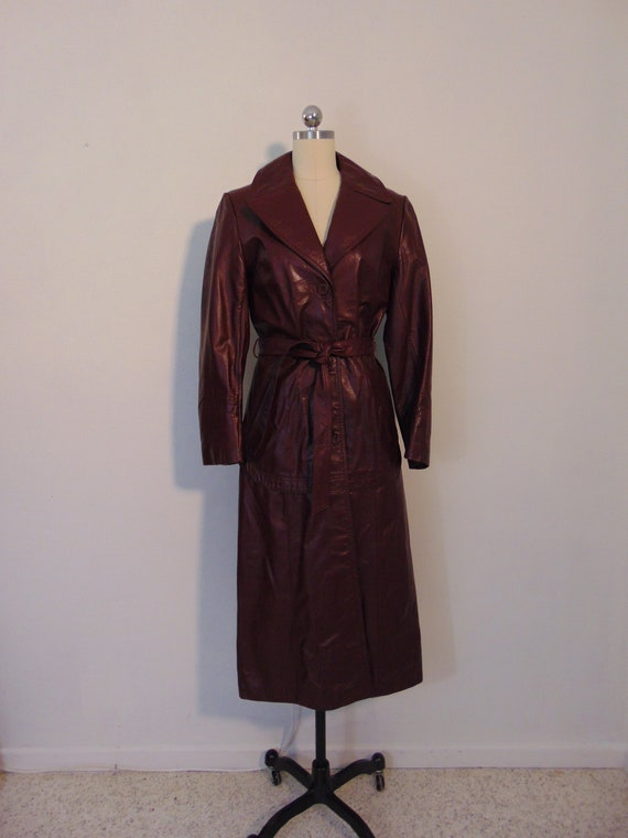 70s burgundy leather trench coat size medium