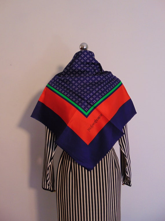 70s large silk scarf by Yves Saint Laurent YSL