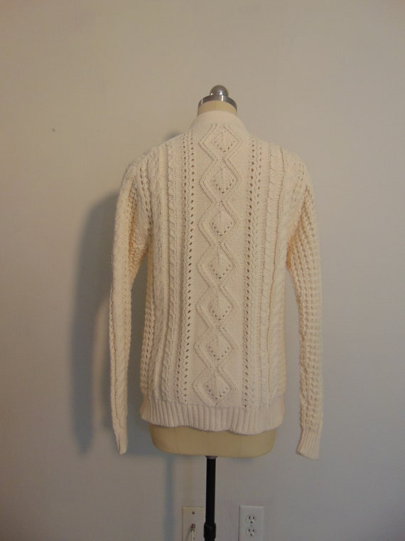 Vintage Cream Cable Knit Acrylic Button Down Cardigan  White Chunky Fisherman/'s Knit Long Sleeve Sweater