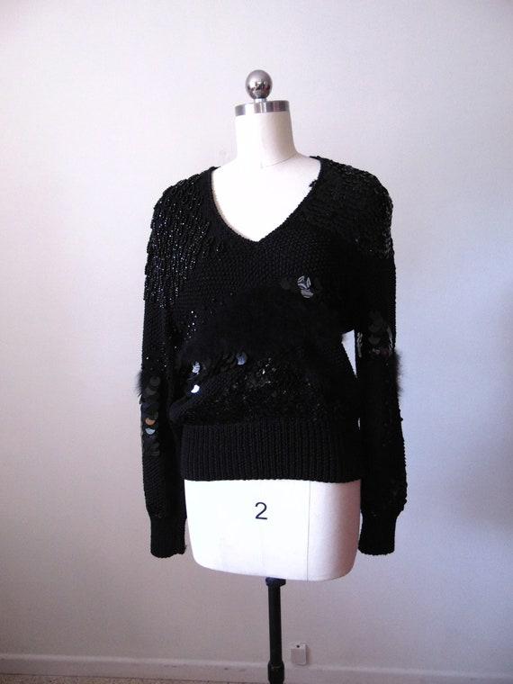 Vintage 1980s Black Lambswool Angora Sweater and Sequins ALOHA  Medium to Large