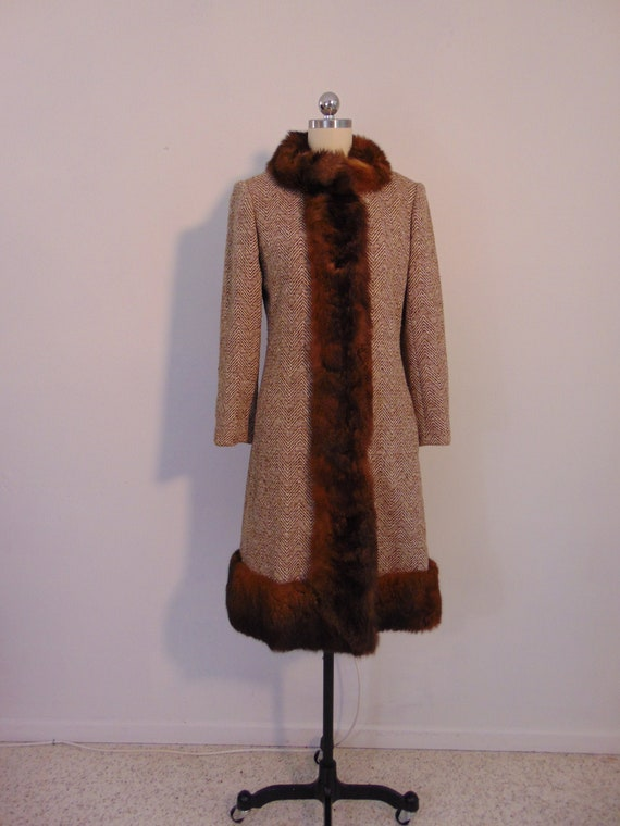 60s MOD wool tweed  coat with fur trim size small