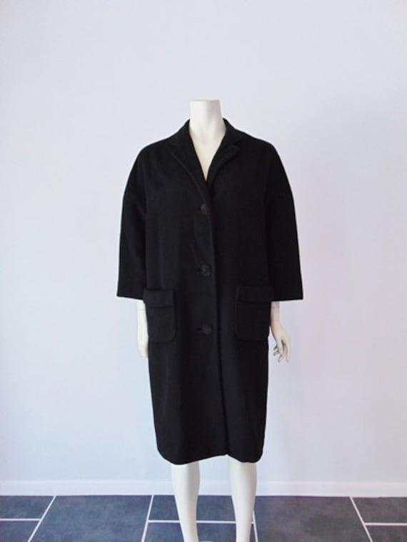 50s BLACK CASHMERE coat size medium