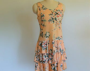 80s floral ruffled TANK dress size small