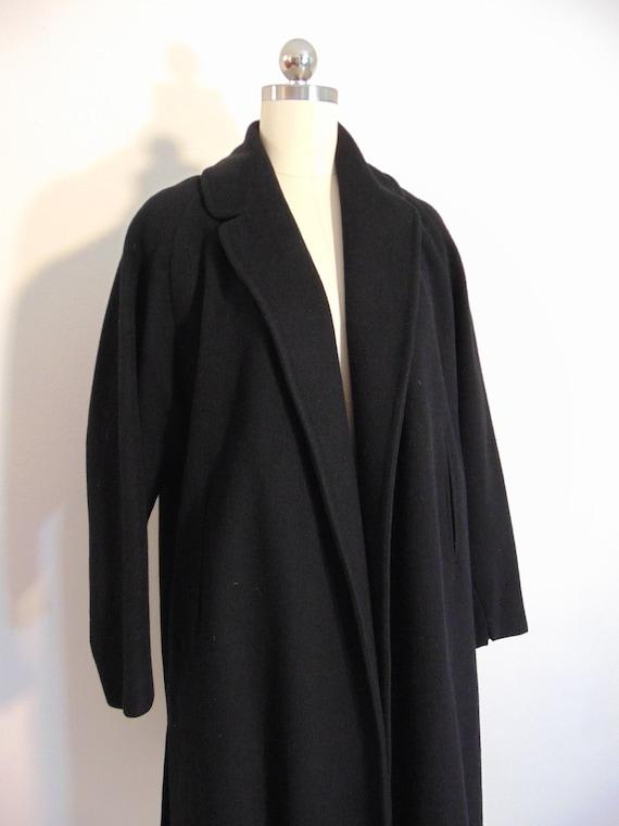50s classic Black Cashmere wool coat size medium