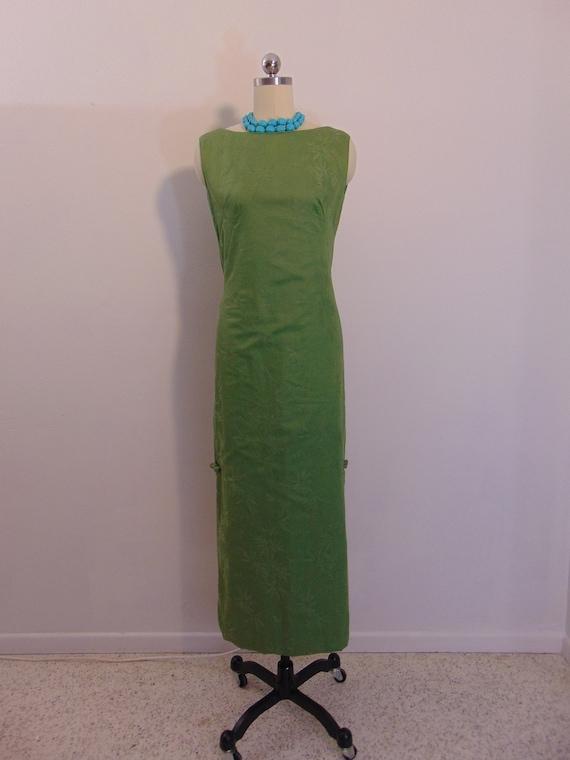 60s green cotton wiggle dress ASIAN tea timer styl