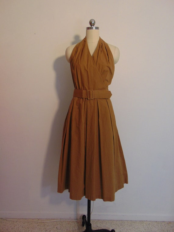 80s does 50s cotton Khaki sundress with halter top