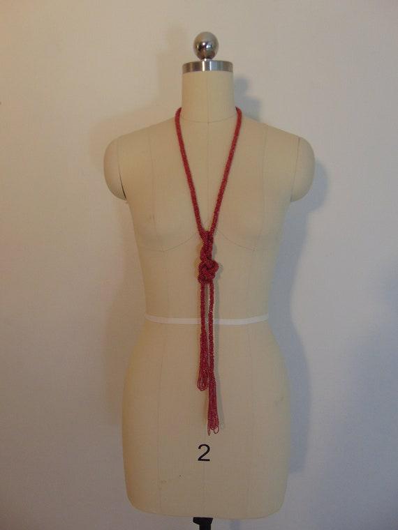 "20s pink glass bead SAUTIOR necklace lariat 48"""
