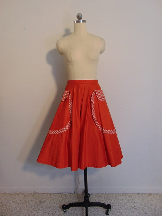 """50s red cotton full skirt with gingham trim 26"""" wa"""
