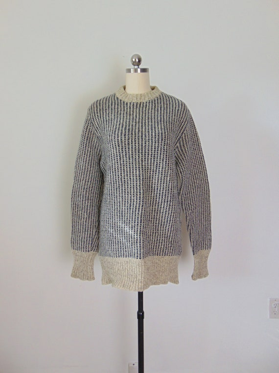 80s navy and oatmeal wool sweater LL Bean size sma