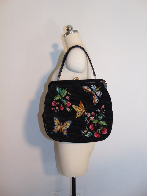 1950s huge needlepoint purse with butterflies and