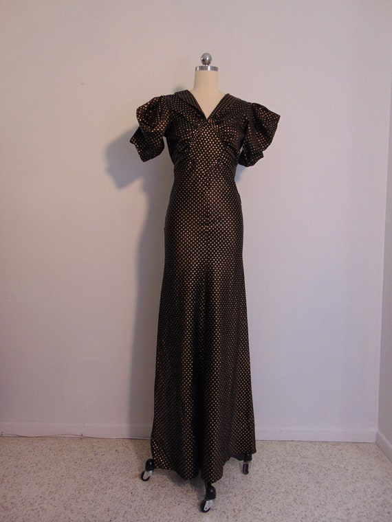 30s taffeta evening gown AMAZING puff sleeves size