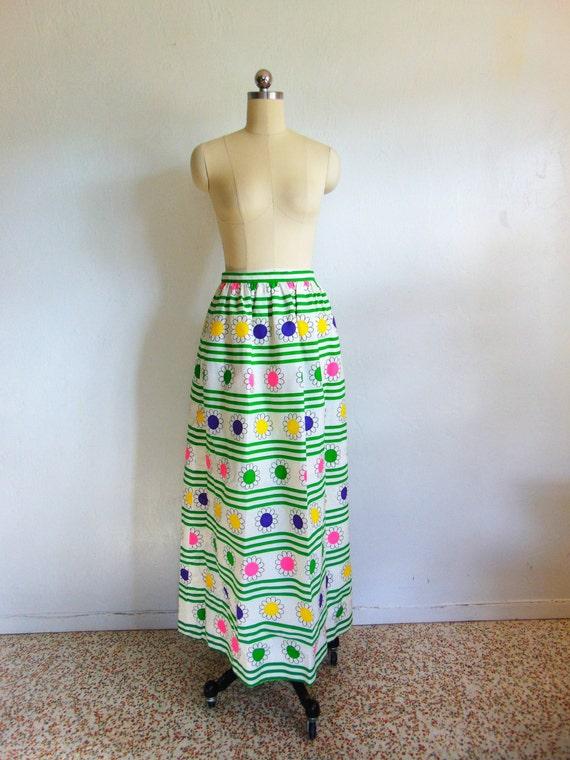 70s cotton maxi skirt STRIPES + DAISIES size mediu
