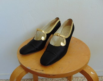 RESERVED 60s Black SATIN pumps trimmed in gold size 9AAA Saks Fifth Ave.