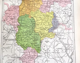 Carlow County Map Etsy