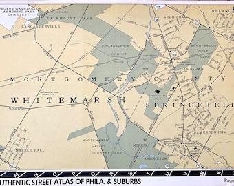 Original 1916 Atlas Map of Springfield Township Montgomery