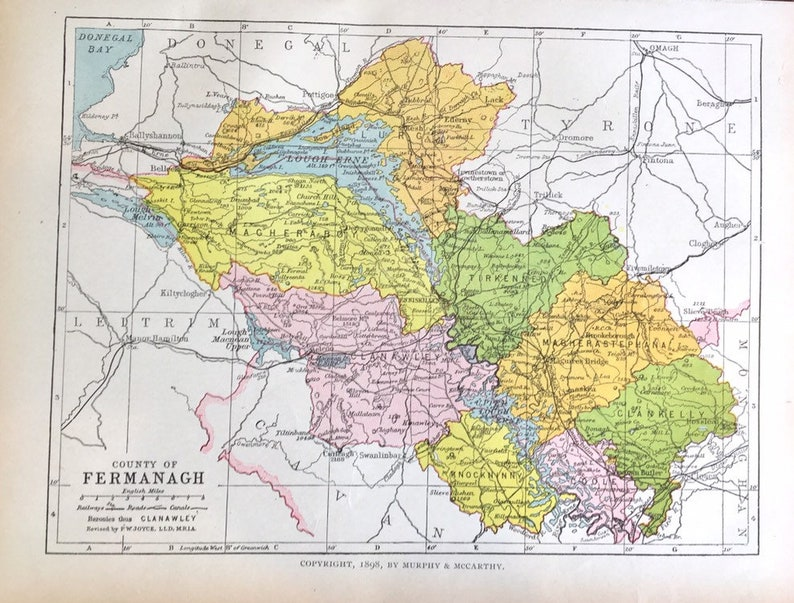Donegal On Map Of Ireland.Original County Of Fermangh 1902 Ireland Atlas Map Donegal Bay