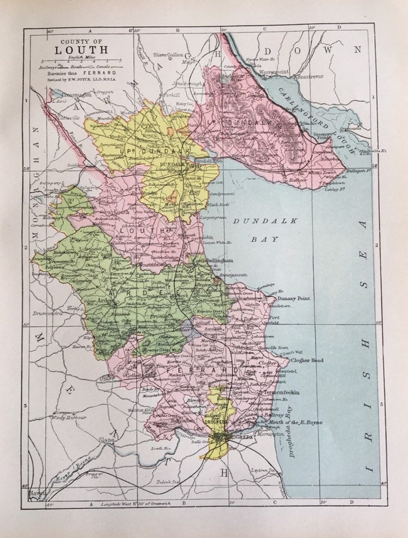 Dundalk Map Of Ireland.County Of Louth Ireland 1900 Atlas Map Dundalk Bay Irish Sea Etsy