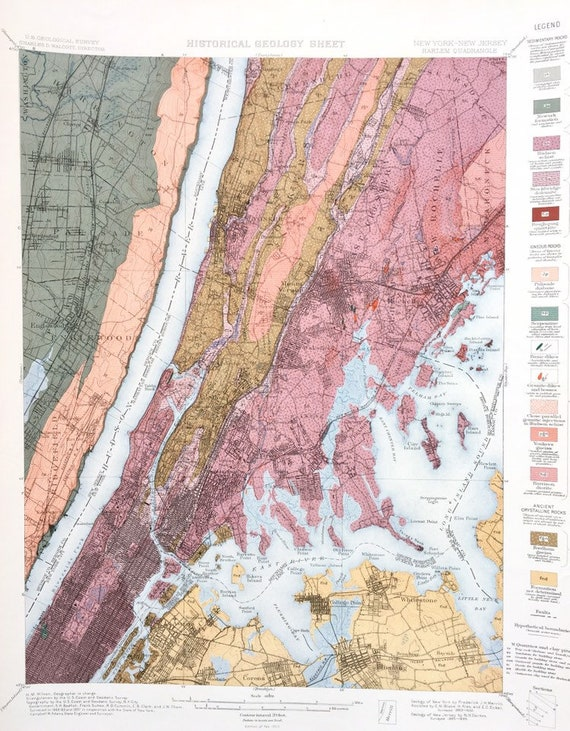 New York Geology Map New Jersey Harlem 1902 US Geological   Etsy Map Of New York And Jersey on