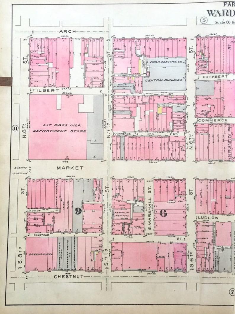 Hand colored Christ Church Original 1927 City of Philadelphia Atlas Map Old City Map