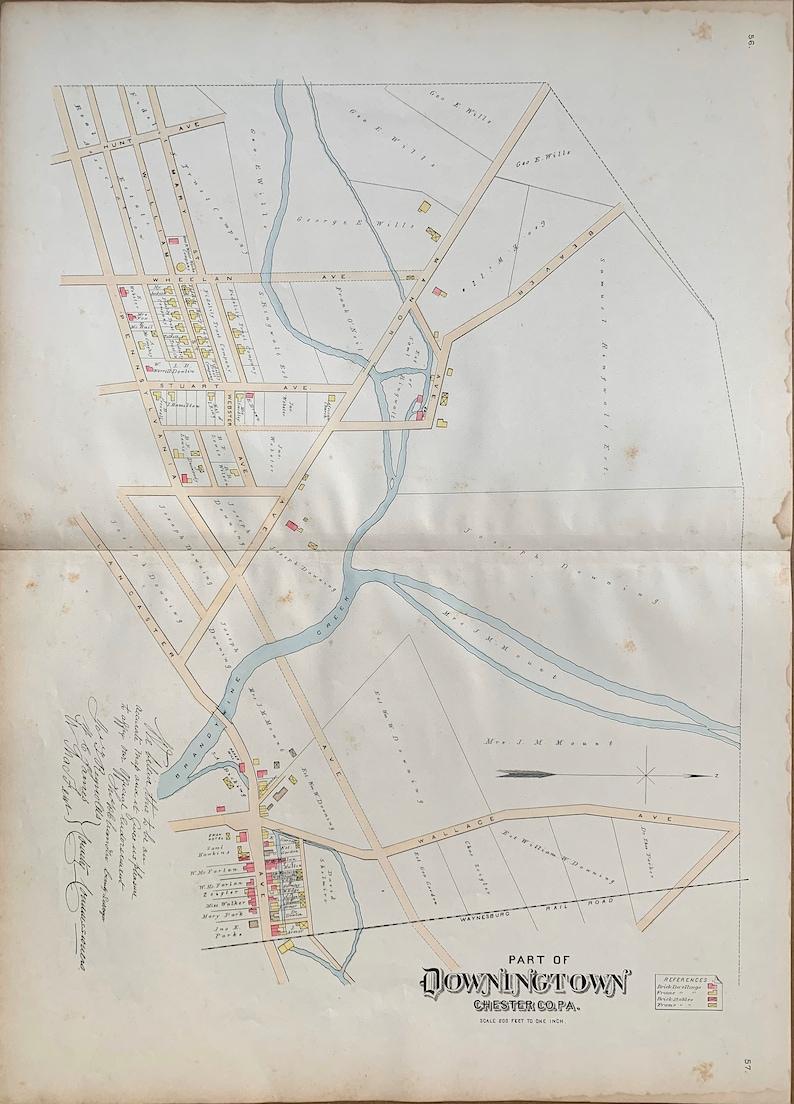 Borough of Downingtown Original 1883 Chester County Pennsylvania Farm Atlas map Downingtown map