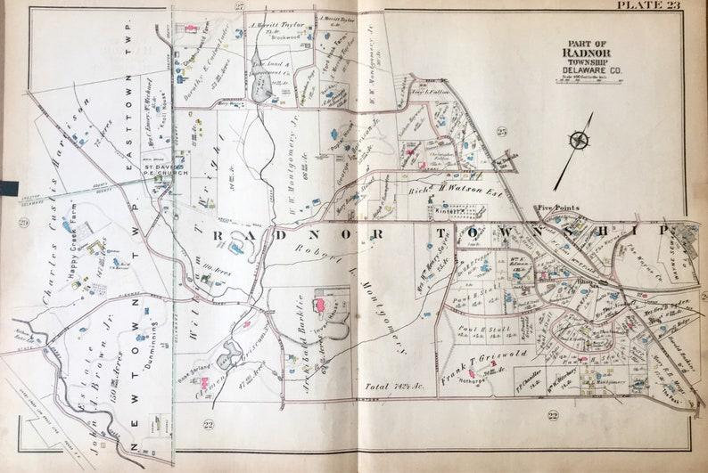 Original Radnor Township Delaware County Atlas Map Mainline | Etsy on