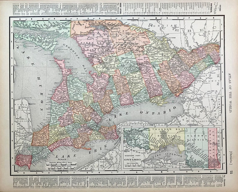 Original 1895 Rand McNally atlas Ontario Map Canadian province map Quebec Map