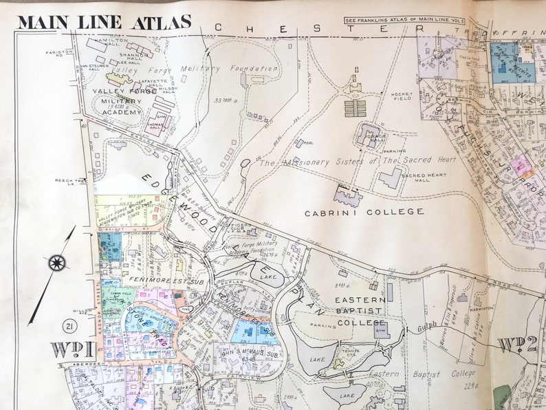 Radnor Township Main Line Atlas Map Delaware County | Etsy on