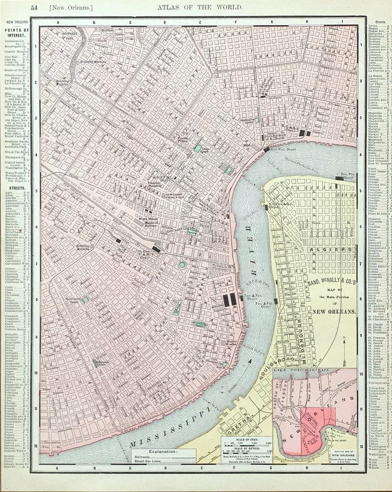 the French Quarter Bourbon Street Original 1895 Rand McNally Atlas New Orleans Louisiana New Orleans Map