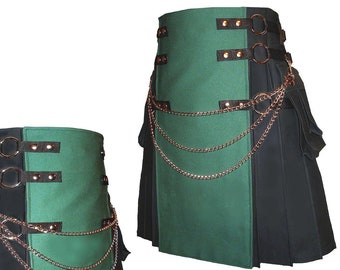 00c660985f7 Famous Black-n-Green Cotton Kilt-Utility Fashion-Garnish with Silver Chain  Set. kiltartisan 5 de ...