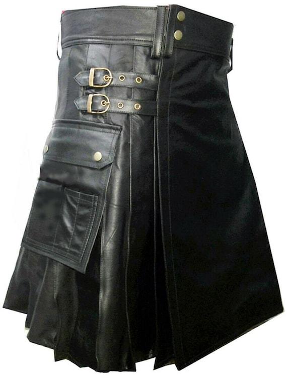 Royal-REAL LEATHER KILT-Sensational Gothic Style-Cargo Pockets-Side Leather Strap for Size Adjustment