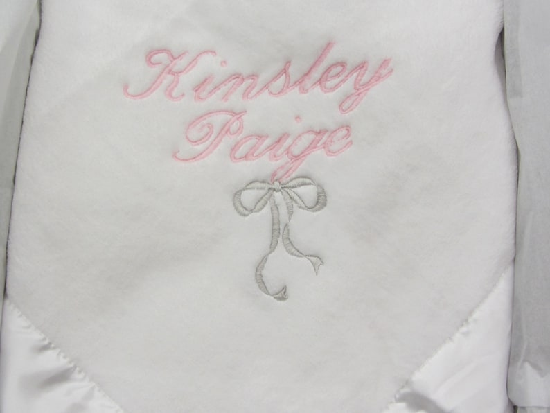 Baby Blanket Personalized Soft Baby Blanket with Custom Embroidered Name and Bow