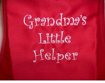 Apron Grandma's Little Helper Red Apron
