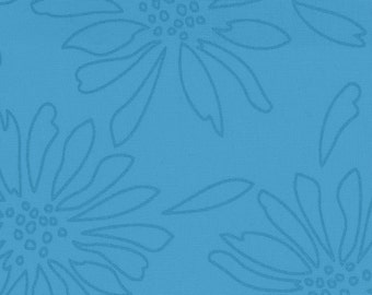 Pearl Essence 100% Cotton Quilt Fabric from Maywood Studio. Floral Pearlized design in BlueGreen.