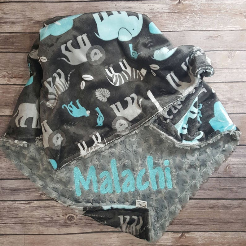 Stroller Blanket Grey Personalized Blanket Baby Boy Blanket Minky Baby Blanket Monogrammed Blanket Jungle Tales Topaz Toddler Blanket