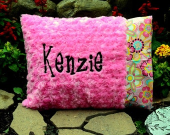 Pillow-Pillowcase-Flowers-Flower Crystals-Sorbet Pink Minky Swirl-Personalized-Baby Girl-Toddler Pillow-Teen-Adult
