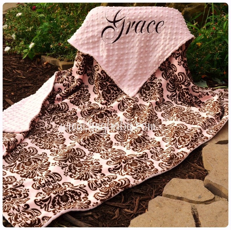 Pink and Brown Damask Baby Girl Damask Blanket Pink Minky,Personalized Baby Blanket Multiple Sizes