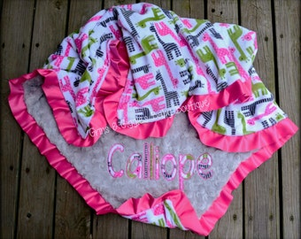 Baby Girl Blanket,Giraffe,Gray Minky Swirl,Satin Ruffle,Personalize,Applique,Zoologie,Photo Prop,Crib Blanket,Toddler,Stroller,Pink,Lime
