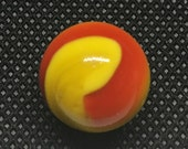 Akro Agate Corkscrew Marble - White and Yellow - Near Mint - Ketchup and Mustard
