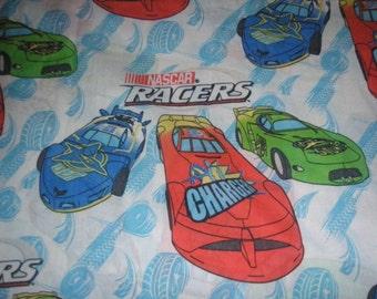 NASCAR Racers TWIN FLAT Sheet- Race Car Fabric - Reclaimed Bed Linens